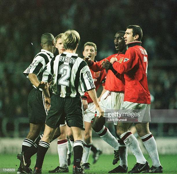 Tempers flare on both sides during the Newcastle Utd v Manchester Utd FA Premiership match at SJames Park Newcastle Mandatory Credit Clive...