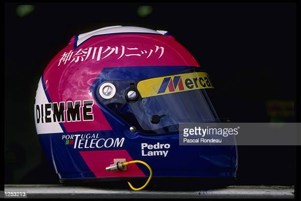 The racing helmet of Pedro Lamy of Portugal pictured prior to the Australian Grand Prix at Albert Park Melbourne Mandatory Credit Pascal...