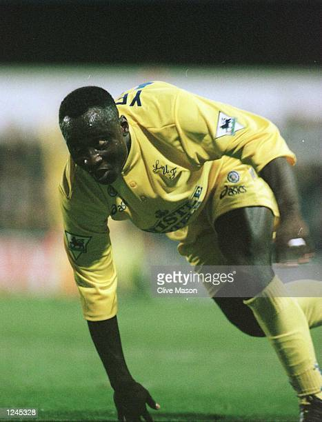 Tony Yeboah celebrates after scoring his second goal for Leeds United during the FA Premiership game against the Queens Park Rangers at Loftus Road...