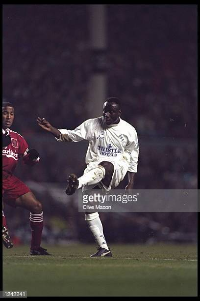 Tony Yeboah of Leeds United in action during FA Cup sixth round replay against Liverpool at Anfield