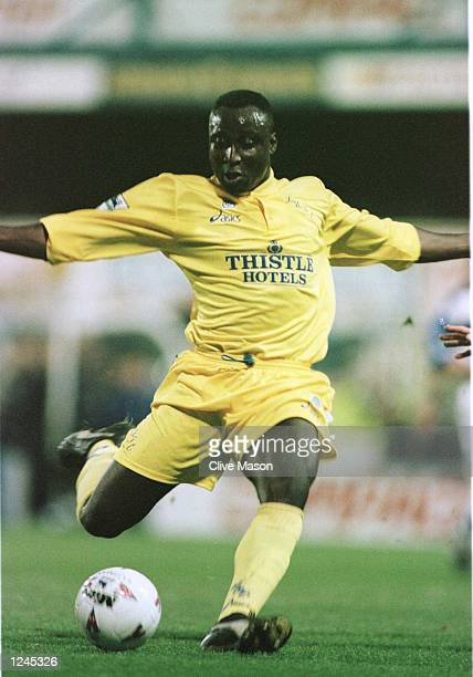 Tony Yeboah of Leeds United sets to shoot on goal during the Leeds United FA Premiership game against the Queens Park Rangers at Loftus Road in...