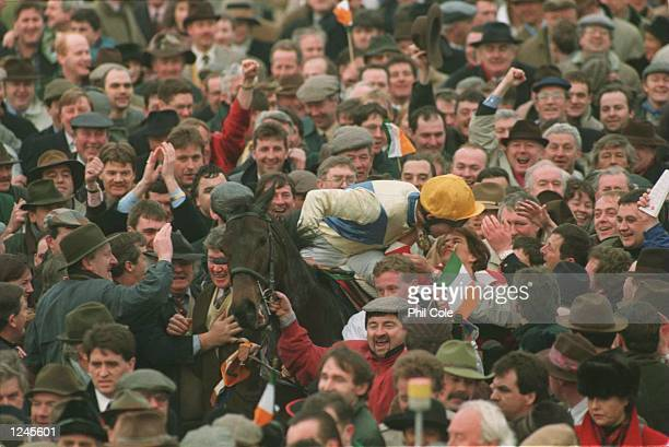 Winner C.O''Dwyer on Imperial Call kisses someone in the crowd after winning the Gold Cup during The Tote Cheltenham Gold Cup Steeple Chase ,Third...