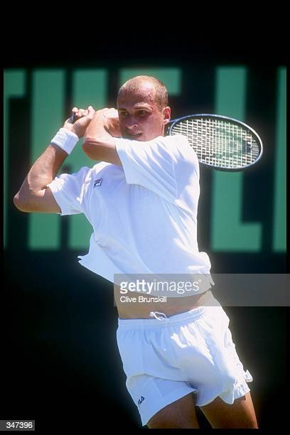 Andrei Medvedev of the Ukraine in action on his way to victory over Nicklas Kulti of Sweden in the fourth round of the Lipton Tennis Championships in...