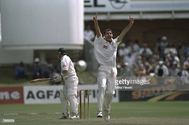 Darryl Cullinan of South Africa is out leg before wicket to Jason Gillespie of Australia for two runs during the second test match at Port Elizabeth...