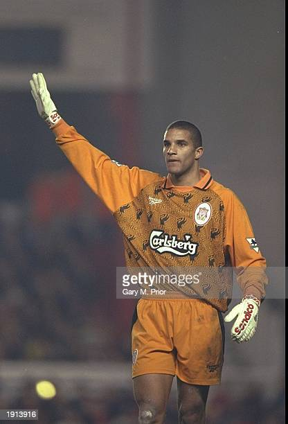 David James of Liverpool gives signals to his defence during the Premier League match against Arsenal at Highbury. Liverpool won 2-1. \ Mandatory...