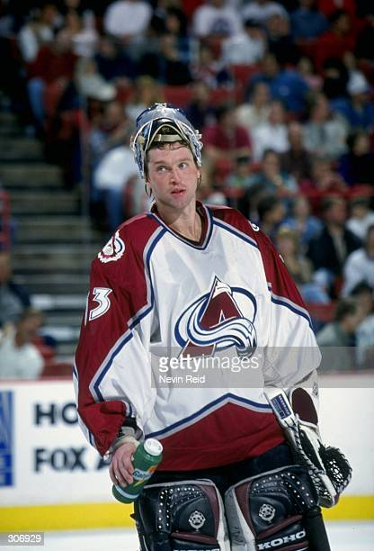 Goaltender Patrick Roy of the Colorado Avalanche in action during a game against the Calgary Flames at the McNichols Arena in Denver Colorado The...