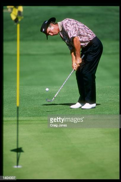 Hubert Green makes a gentle putt during the Liberty Mutual Legends of Golf at the Arnold Palmer Course of the PGA West in La Quinta California...