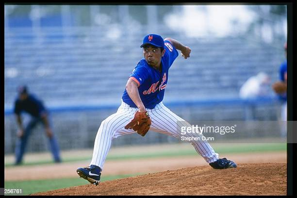 Pitcher Takashi Kashiwada of the New York Mets throws a pitch during a preseason game against the Atlanta Braves in Port St Lucie Florida The Mets...