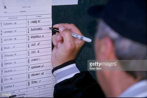 A general view of the Chicago White Sox lineup card during a spring training game against the Chicago Cubs at Hohokam Park in Mesa Arizona The White...