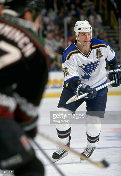 Al Macinnis of the St Louis Blues skates down the ice during a game against the Phoenix Coyotes at the Kiel Center in St Louis Missouri The Coyotes...