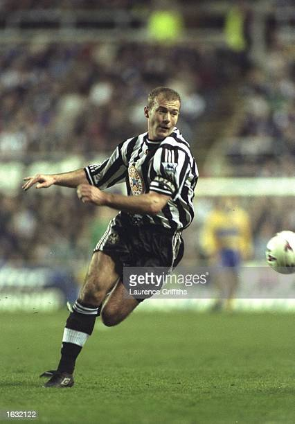 Alan Shearer of Newcastle chases the ball during the match between Newcastle United and Crystal Palace in the FA Premiership played at St James Park...