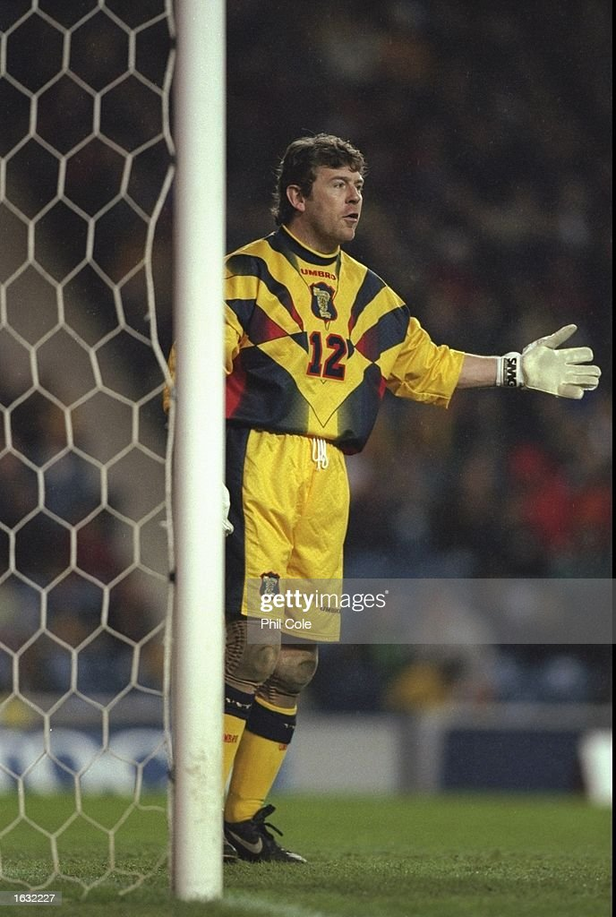 Andy Goram of Scotland in action during the Friendly International against Denmark at Ibrox in Glasgow, Scotland. Denmark won 1-0. \ Mandatory Credit: Phil Cole /Allsport