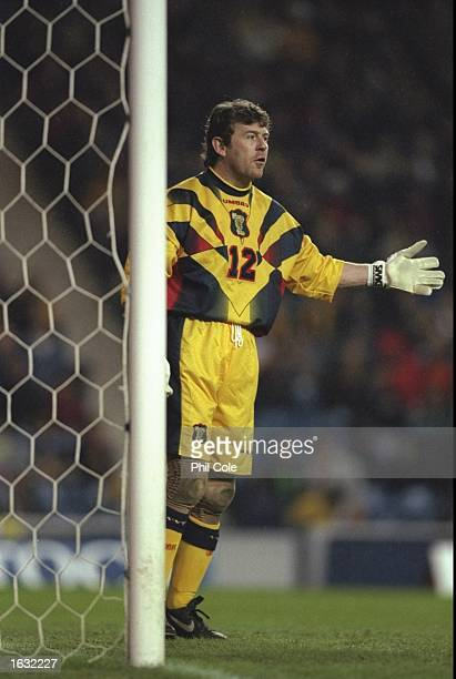 Andy Goram of Scotland in action during the Friendly International against Denmark at Ibrox in Glasgow Scotland Denmark won 10 Mandatory Credit Phil...