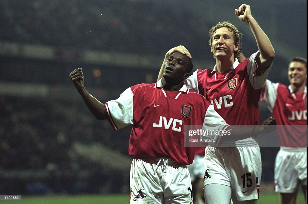 31 Mar 1998:  Arsenal striker Christopher Wreh celebrates scoring the winning goal : News Photo