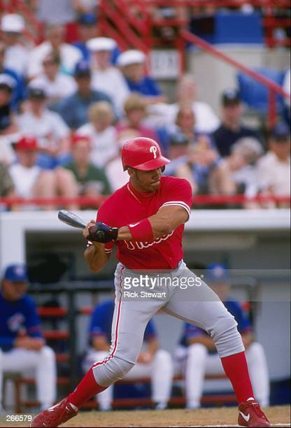 Catcher Bobby Estelella of the Philadelphia Phillies in action during a spring training game against the Toronto Blue Jays at the Dunedin Stadium in...