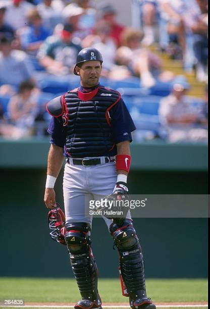 Catcher Javier Lopez of the Atlanta Braves in action during a spring training game against the Kansas City Royals at the Baseball City Stadium in...