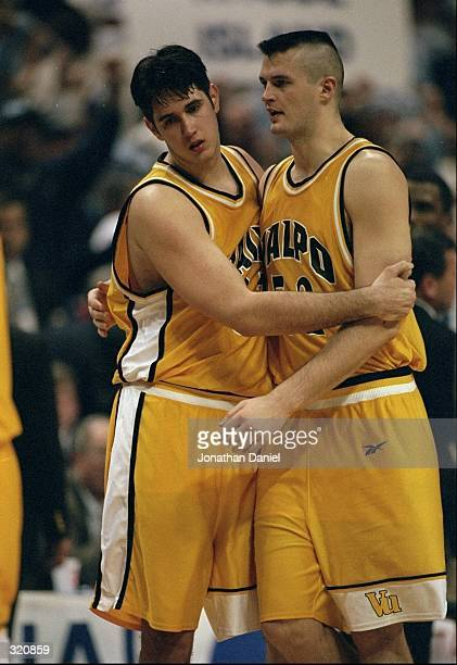 Centers Zoran Viskovic and Antanas Vilcinskas of the Valparaiso Crusaders in action during an NCAA Tournament game against the Rhode Island Rams at...