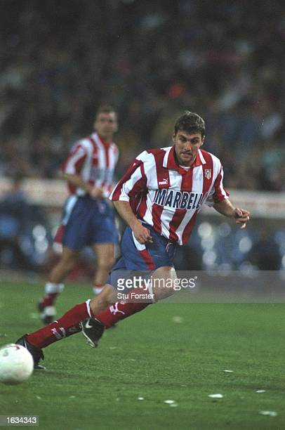 Christian Vieri of Athleico Madrid passes the ball during the match between Athletico Madrid and Lazio in the UEFA Cup SemiFinal played at the...