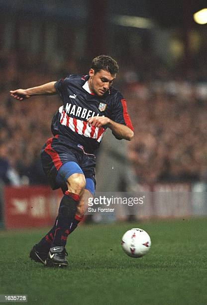 Christian Vieri of Atletico Madrid in action during a match against Aston Villa at Villa Park in Birmingham England Mandatory Credit Stu...