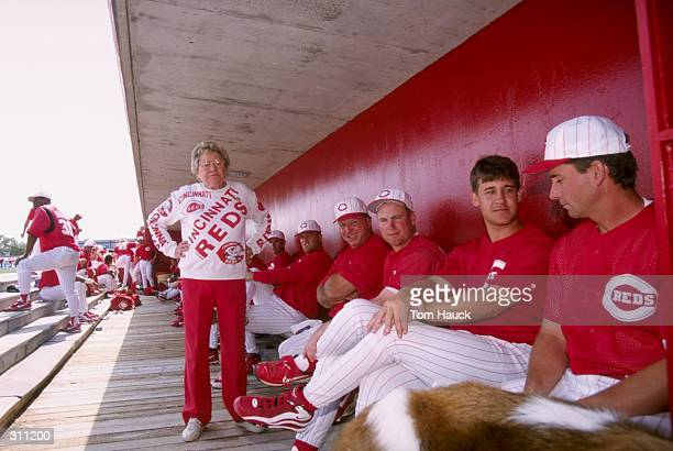 Cincinnati Reds owner Marge Schott looks on during a spring training game against the Texas Rangers at the Ed Smith Stadium in Sarasota Florida The...