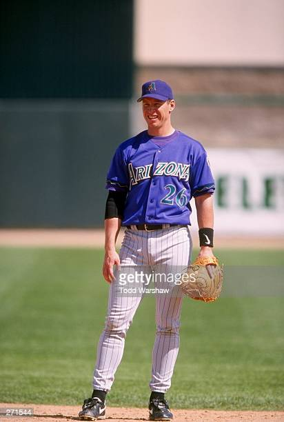 Damian Miller of the Arizona Diamondbacks in action during a spring training game against the Chicago Cubs at Hohkam Stadium in Mesa Arizona The...