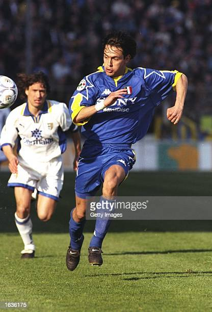 Filippo Inzaghi of Juventus gives chase during the Serie A game against Parma at the Ennio Tardini Stadium in Parma Italy Mandatory Credit Allsport...
