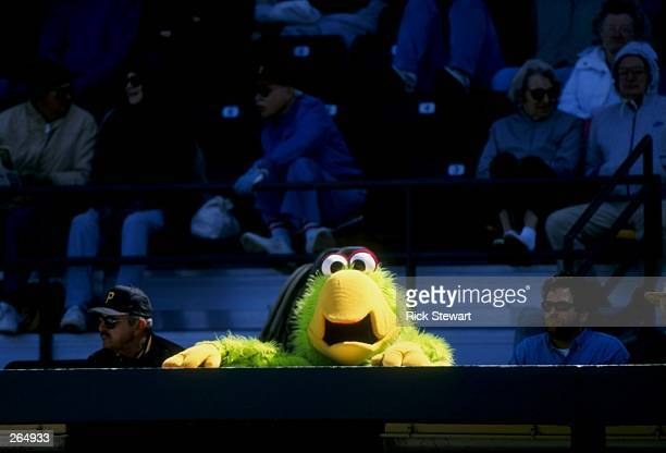 General view of a mascot during a spring training game between the Pittsburgh Pirates and the Minnesota Twins at the McKechnie Field in Bradenton,...