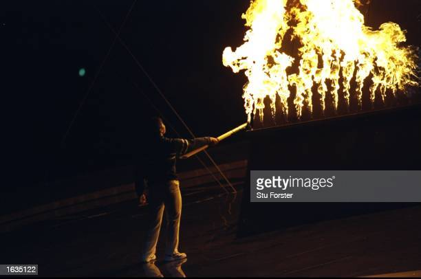 General view of the Flame being lit during the Opening Ceremony of the 1998 Winter Paralympics in Nagano Japan Mandatory Credit Stu Forster/Allsport