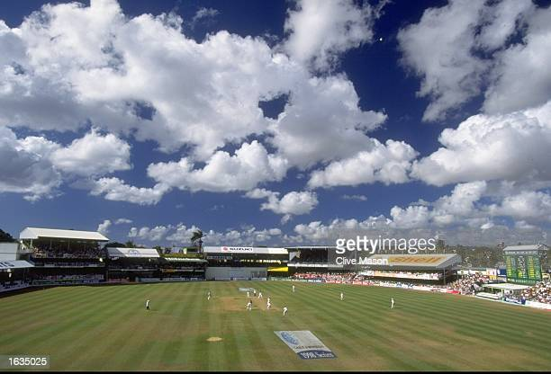 General view of the pitch during the Fifth Test match between the West Indies and England at the Kensington Oval in Bridgetown, Barbados. The match...