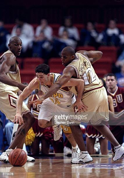 Guard Bryce Drew of the Valparaiso Crusaders in action against guard Kerry Thompson of the Florida State Seminoles during a game in the second round...