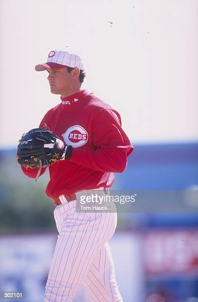 Infielder Aaron Boone of the Cincinnati Reds in action during a spring training game against the Toronto Blue Jays at the Ed Smith Field in Sarasota...