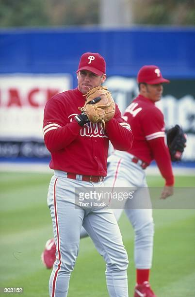 Infielder Jon Zuber of the Philadelphia Phillies in action during a spring training game against the Toronto Blue Jays at Grant Field in Dunedin...