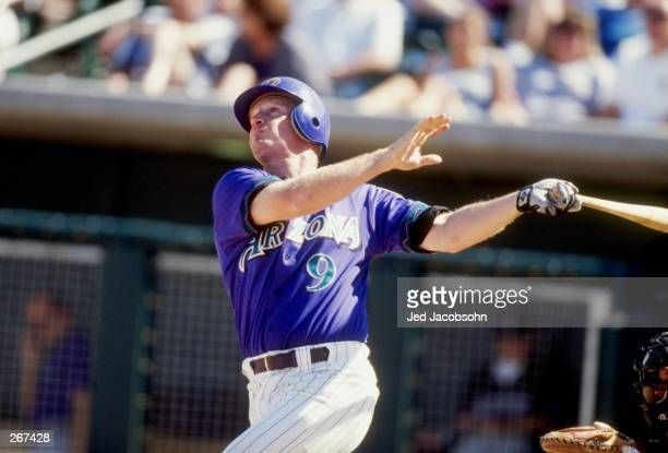 Infielder Matt Williams of the Arizona Diamondbacks in action during a spring training game against the Colorado Rockies at the Tucson Electric Park...