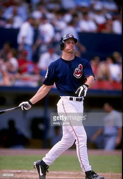 Infielder Russell Branyan of the Cleveland Indians in action during a spring training game against the Detroit Tigers at the Chain of Lakes Park in...