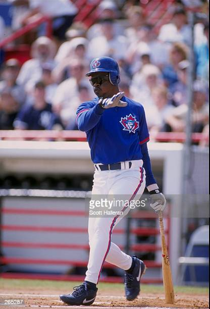 Infielder Tony Fernandez of the Toronto Blue Jays in action during a spring training game against the New York Yankees at Legends Field in Tampa Bay...