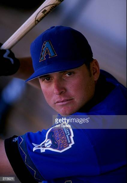 Karim Garcia of the Arizona Diamondbacks in action during a spring training game against the Milwaukee Brewers at the Maryvale Baseball Park in...
