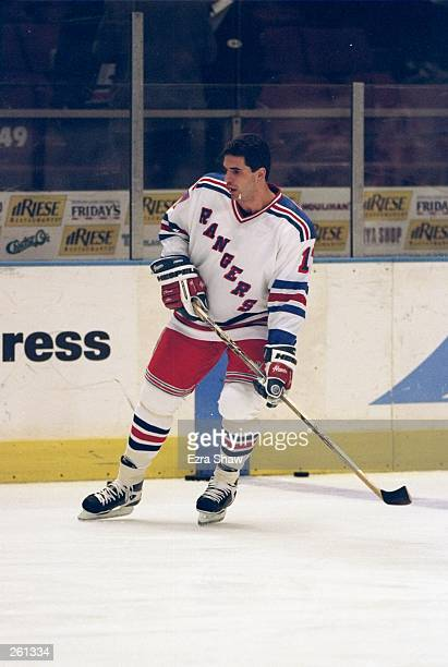 Kevin Stevens of the New York Rangers looks down the ice during a game against the Buffalo Sabres at Madison Square Garden in New York City New York...