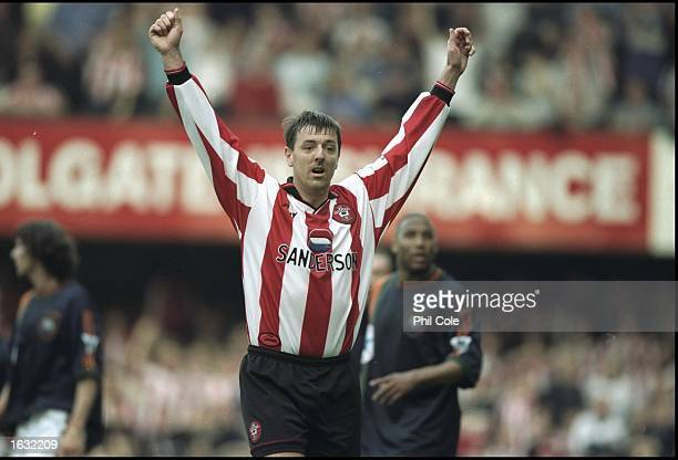 Matt Le Tissier of Southampton celebrates during the FA Carling Premiership match against Newcastle United at the Dell in Southampton England...