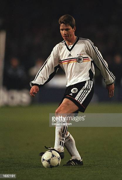 Michael Tarnat of Germany in action during the International friendly against Brazil at the Neckarstadion in Stuttgart in Germany Brazil won 21...