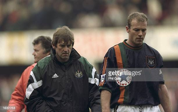 Newcastle United manager Kenny Dalglish and club captain Alan Shearer walk off disappointed after the FA Carling Premiership match against...