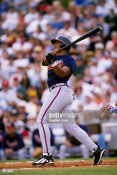 Outfielder Andruw Jones of the Atlanta Braves in action during a spring training game against the Los Angeles Dodgers at the Holman Stadium in Vero...