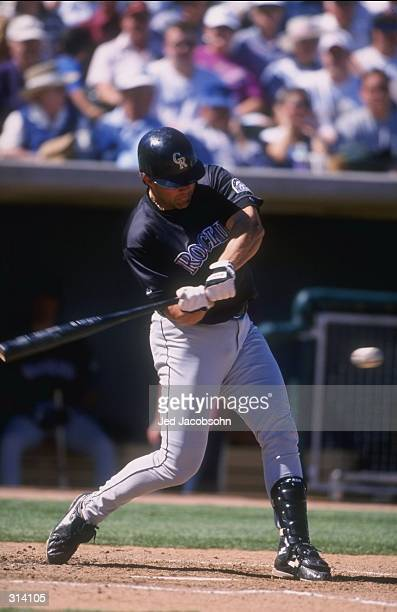 Outfielder Dante Bichette of the Colorado Rockies in action during a spring training game against the Chicago White Sox at the Tucson Electric Park...