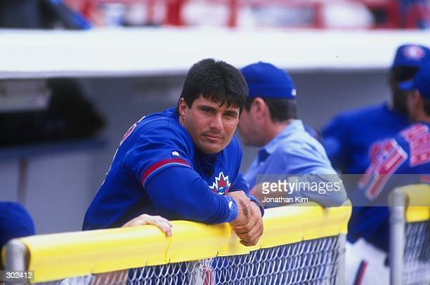Outfielder Jose Canseco of the Toronto Blue Jays in action during a spring training game against the Boston Red Sox at the Grant Field in Dunedin...
