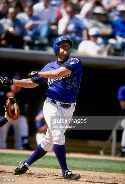 Outfielder Karim Garcia of the Arizona Diamondbacks in action during a spring training game against the Colorado Rockies at the Tucson Electric Park...