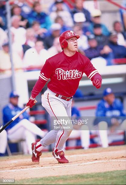 Outfielder Lenny Dykstra of the Philadelphia Phillies in action during a spring training game against the Toronto Blue Jays at Grant Field in Dunedin...