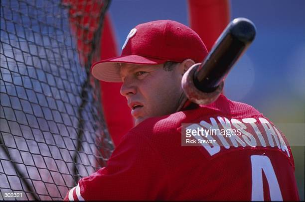 Outfielder Lenny Dykstra of the Philadelphia Phillies in action during a spring training game against the Cincinnati Reds at the Ed Smith Stadium in...