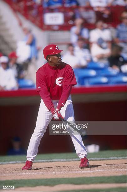 Outfielder Ozzie Timmons of the Cincinnati Reds in action during a spring training game against the Toronto Blue Jays at the Ed Smith Field in...