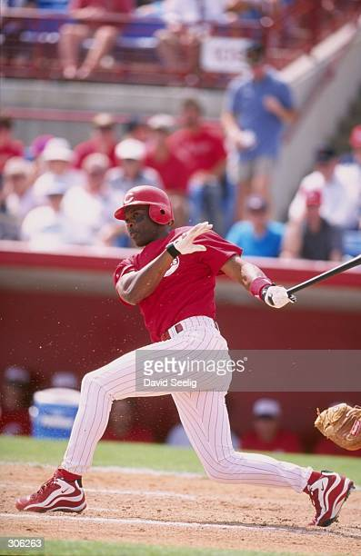 Outfielder Reggie Sanders of the Cincinnati Reds Short Squad in action during a spring training game against the Minnesota Twins Short Squad at the...
