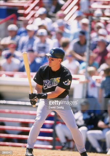 Outfielder Rich Butler of the Tampa Bay Devil Rays in action during a spring training game against the Toronto Blue Jays at the Dunedin Stadium in...
