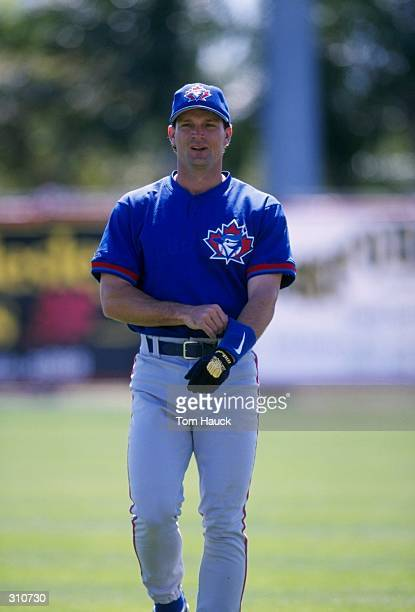 Pat Kelly of the Toronto Blue Jays looks on during a spring training game against the Cincinnati Reds at the Ed Smith Field in Sarasota Florida The...